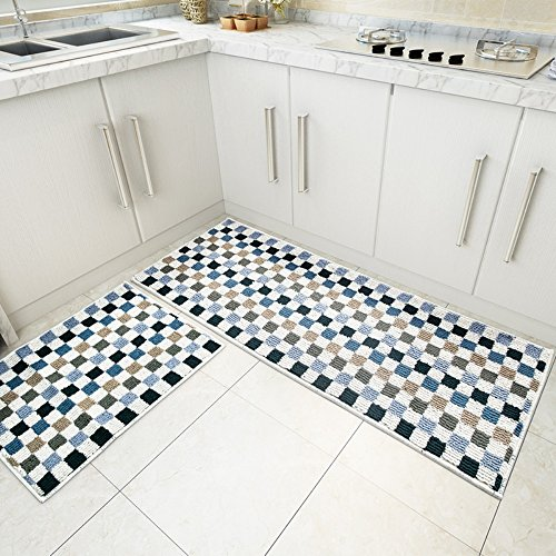 MustHome Mosaic Pattern 2 Piece Kitchen Rugs Set Non Slip Latex Backing Kitchen Mat 17