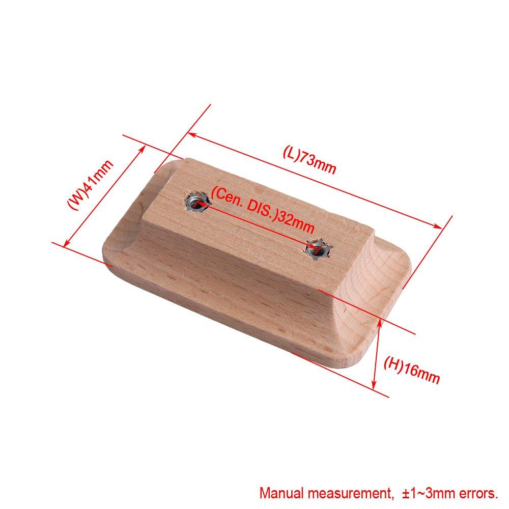 7,3x4,2x1,6 cm Moderne Einfache Unvollendete Schrank Hardware Holzgriff 32mm Lochabstand mit Schrauben f/ür Schrank Schubladenschrank Kleiderschrank pack von 4