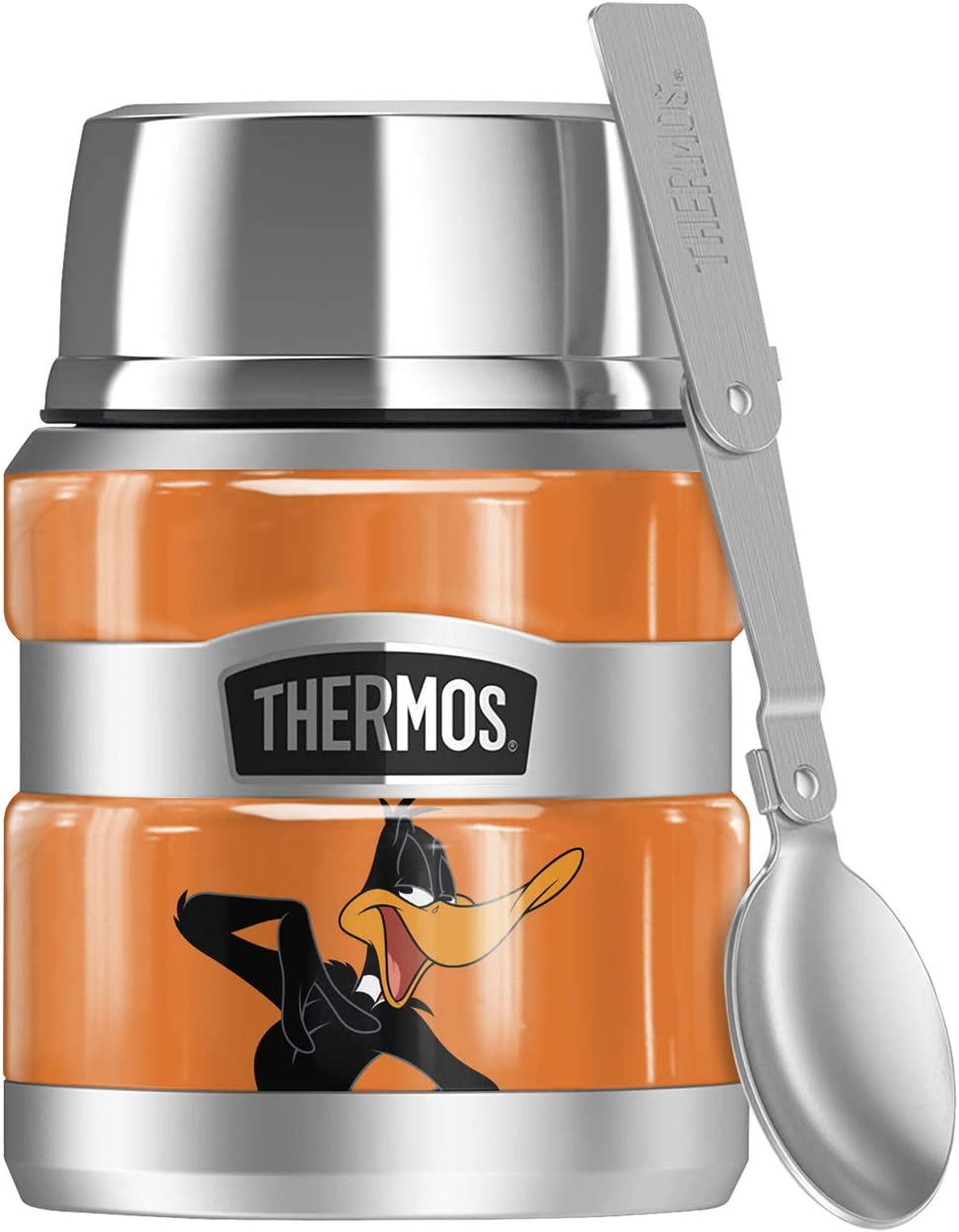 Looney Tunes Daffy Duck, THERMOS STAINLESS KING Stainless Steel Food Jar with Folding Spoon, Vacuum insulated & Double Wall, 16oz