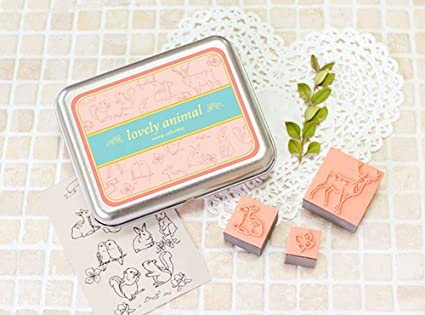 Creative Letter Stamps Forest Animal Custom Rubber Set Of 13 With Tin Box