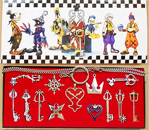 Keyblade Set - XCOSER® Kingdom Hearts Keyblade Sora Weapon Keychain Pendant for Collection Silver 13pcs