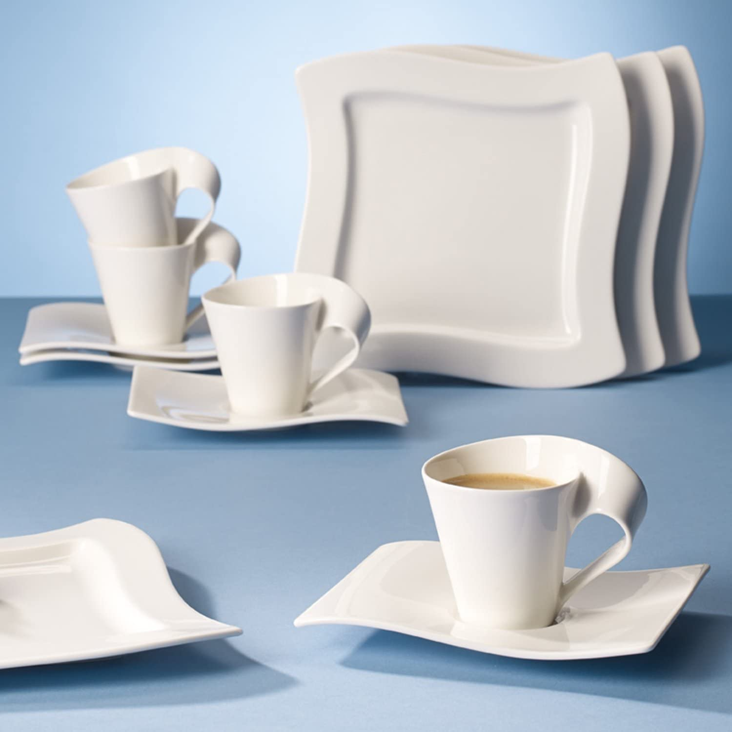 Saucers and Breakfast Plates Villeroy /& Boch 10-2525-9014 New Wave Coffee Set 12-parts 4 Coffee Cups
