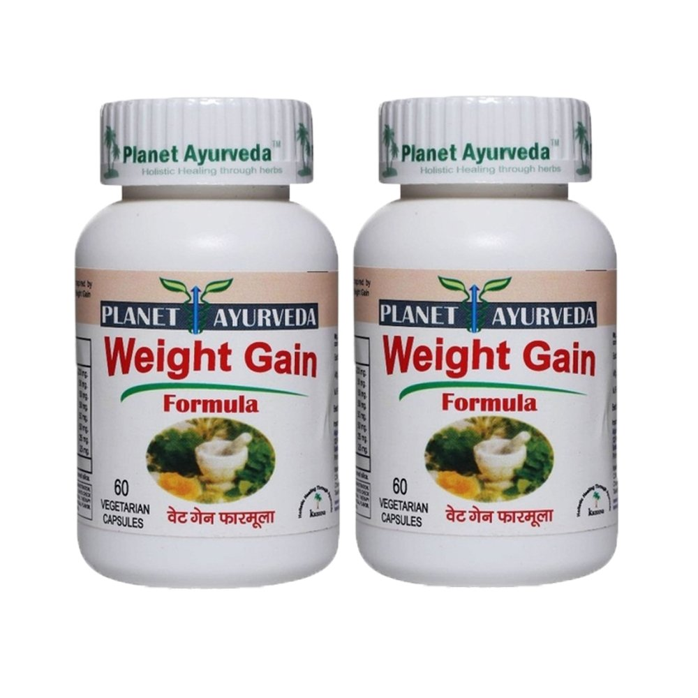 Planet Ayurveda Weight Gain Formula, 500mg Veg Capsules - 2 Bottles - Nature's answer for fitness by Planet Ayurveda