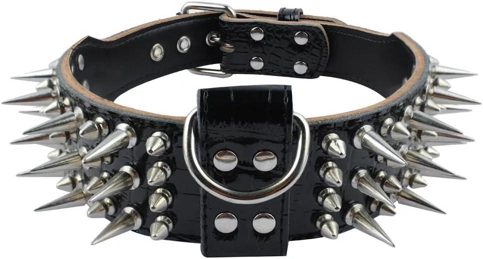 PET ARTIST - Collar para Perro de Piel Afilada (5 cm de Ancho, para Perros Grandes, Extra Grandes, protección antimordidos, Pitbull, Bulldog Doberman)