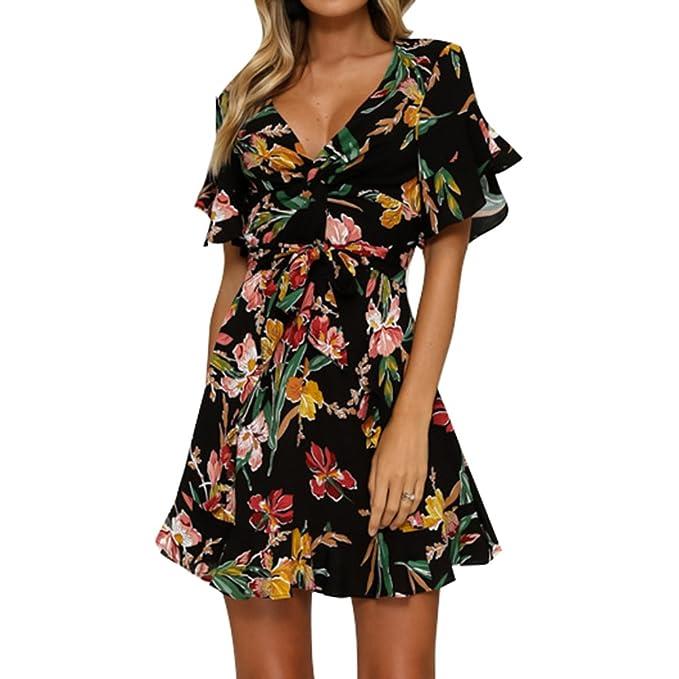 Mujer Verano Vestidos Moda Cuello en V Corto Vestido Boho Fiesta Maxi Noche Vestidos Elegante vestido de una línea Mini Vestido Floral Sayo Top Pullover ...