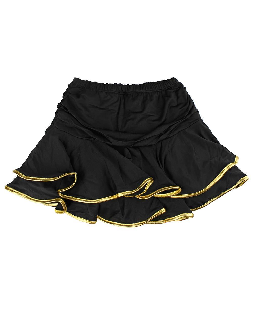 Daydance Girl's Dance Skirt Latin Ballroom Samba Tango Practice Dress with Boy Shorts 9 Colors Black-Gold by Daydance