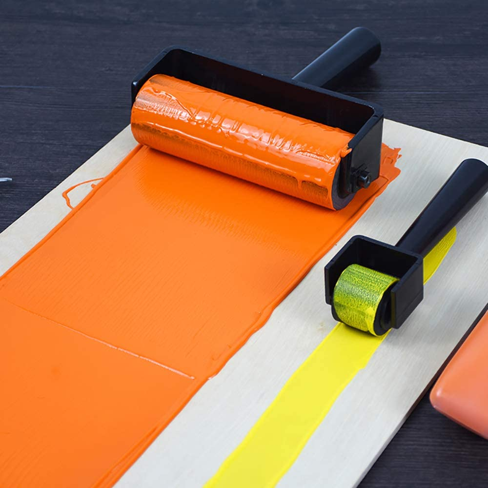 3.8 Inch Hard Rubber Brayer Roller,Anti Skid Tape Construction Tool for Printmaking Wallpapers Stamping Gluing Application