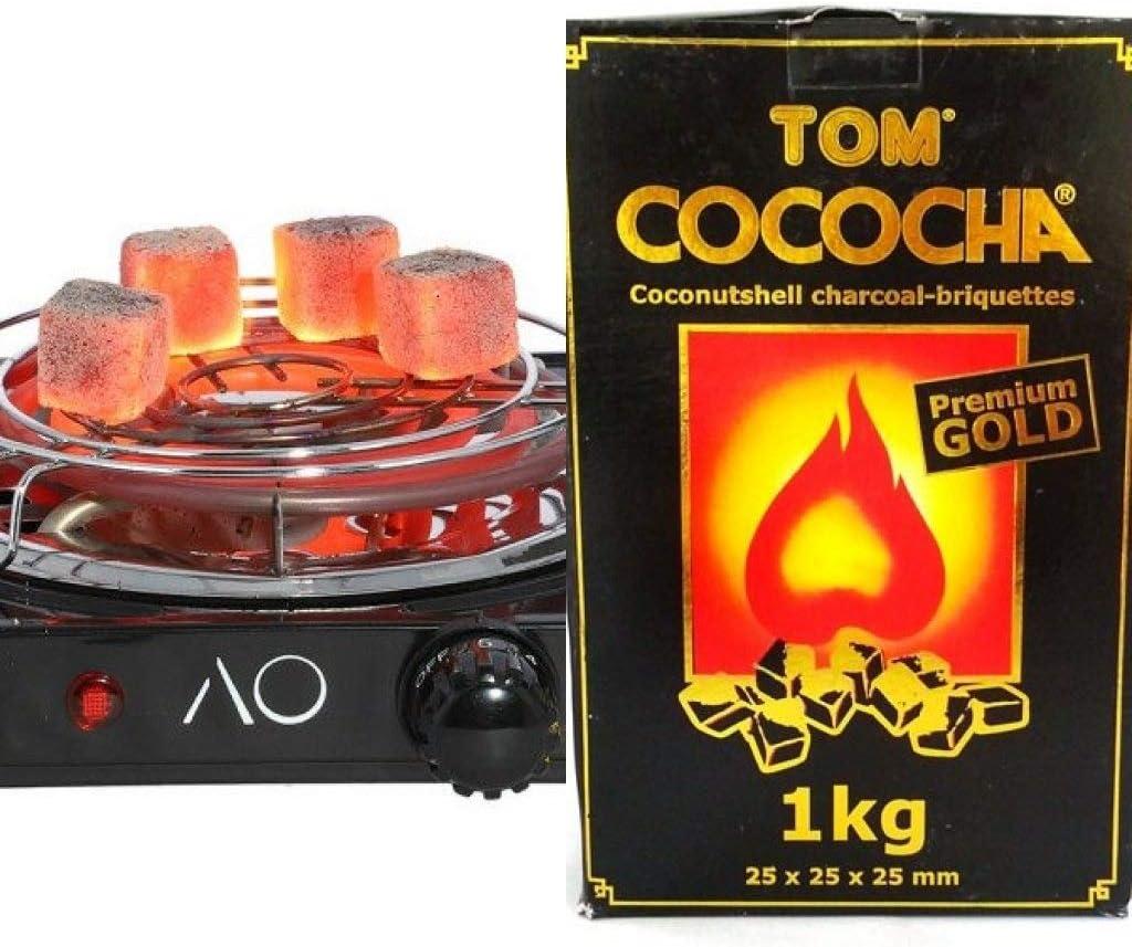 Hornillo para carbón de Shisha o Cachimba 1500W + 1 Kg Carbón ...
