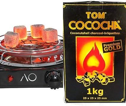 Hornillo para carbón de Shisha o Cachimba 1500W + 1 Kg Carbón Tom Cococha: Amazon.es: Salud y cuidado personal