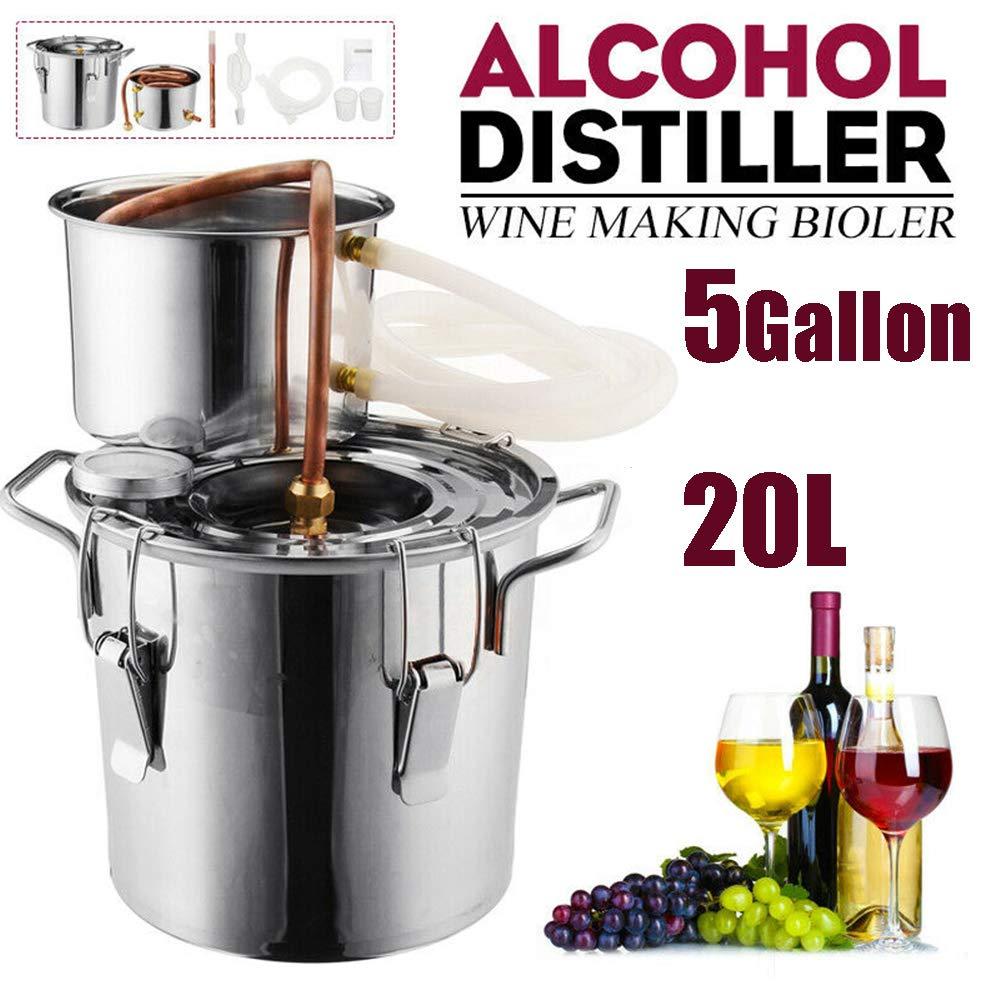 ECO LLC 5Gal Alcohol Distiller Water Distiller Stainless Copper 20L Boiler Home Brew Kit