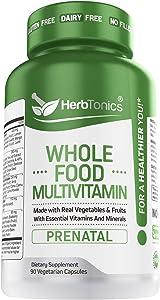 Prenatal Whole Food Multivitamin Prenatal Vitamins with 62 Superfoods, Raw Veggies, Fruits, Probiotic Digestive Enzymes Vitamin E, A, B Complex Ginkgo Bilboba Ceylon Cinnamon Turmeric wholefood