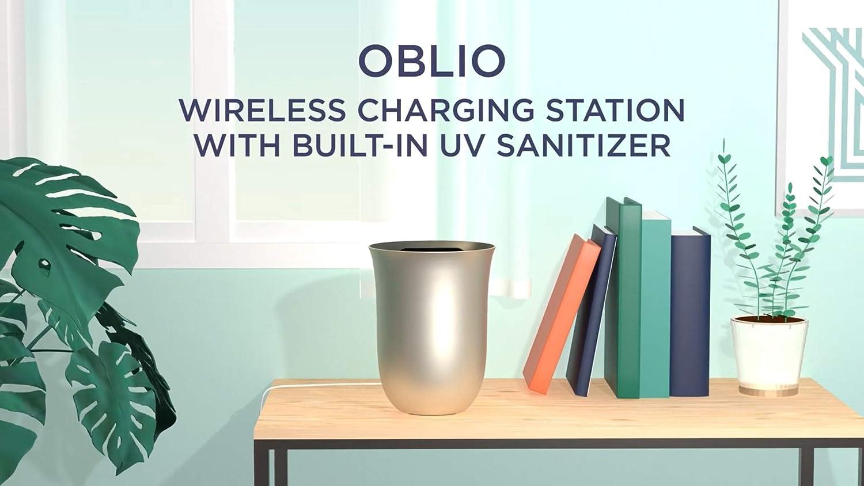 Dorado OBLIO Estaci/ón de carga Wireless inal/ámbrica de 10 W con desinfectante Luz Ultravioleta UV-C incorporado