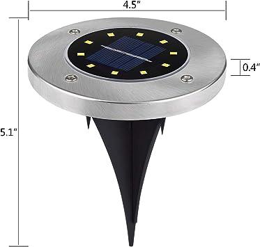 Led Solar Light 2 In1 Set of 3 Garden Ornament Stainless Steel Ground Spike New