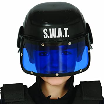 NET TOYS Casco SWAT niño Gorro policía Infantil Gorra S.W.A.T. Protección  Cabeza Unidad Especial Complemento Fuerzas 7c5deddedbf