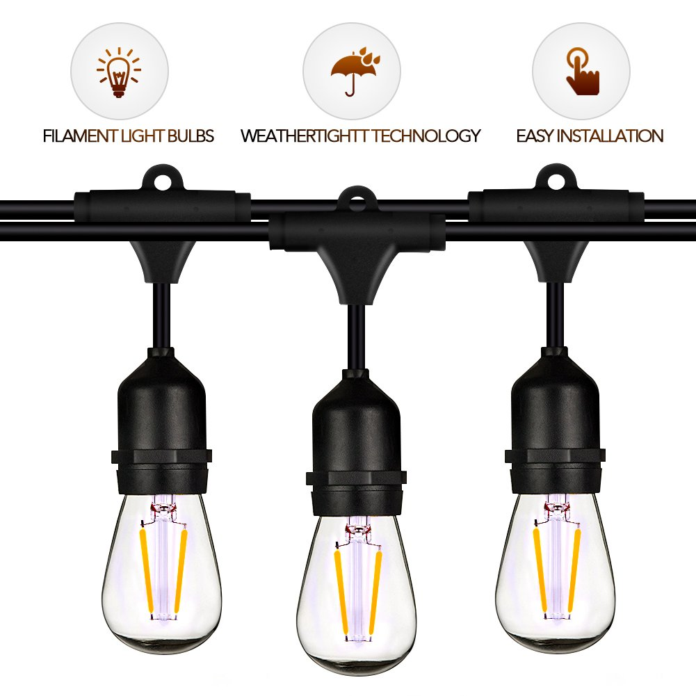 LED String Lights - String Lights 15 Sockets 48 Ft, LED String Lights Outdoor with 15 Filament LED Bulbs, Weatherproof Festival Lights for Home & Commercial Use, Warm String Light Easy to Install