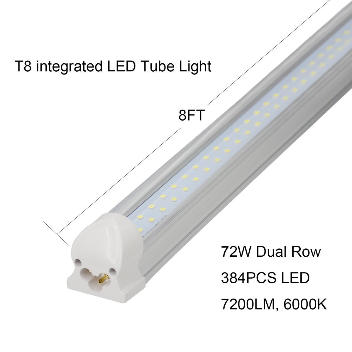 (US STOCK)CNSUNWAY 8ft T8 LED Tube, 96'' Integrated Dual Row Lighting Bulbs, 72W(150W Equivalent), 6000K Cool White Clean Lens Light, Work Without Ballast (200) by CNSUNWAY LIGHTING (Image #3)