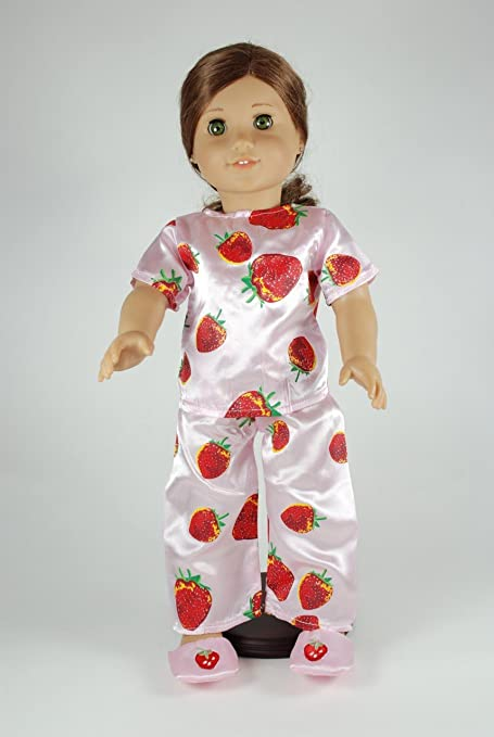3e7fb2705e Image Unavailable. Image not available for. Color  Unique Doll Clothing  Strawberry Pajamas for 18 Inch Dolls ...