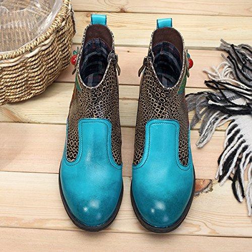 Socofy Dames Korte Schacht Laarzen, Bloemen Laarzen Klassieke Enkellaars Korte Laarzen Met De Hand Gemaakte Anit-slip Comfortabele Leren Schoenen Blauw