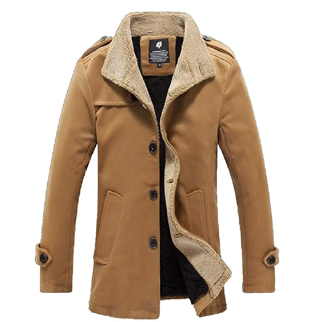 YUNY Mens Pure Color Plus Velvet Pockets Thickening Button Down Down Jackets Khaki S