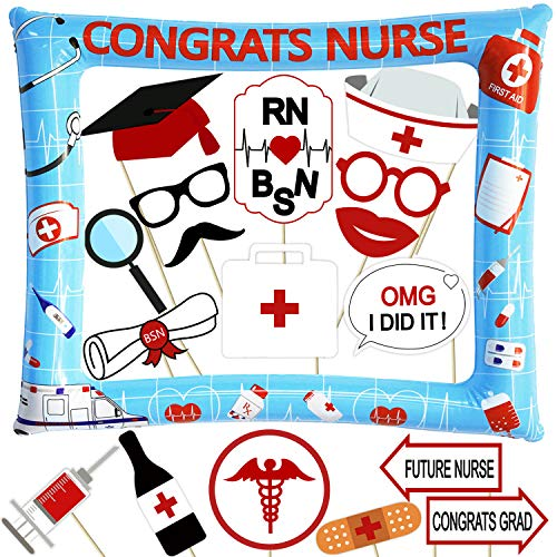 Nurse Graduation Photo Booth Props and Inflatable Selfie Frame - NO DIY Required - Nursing Graduation Party Supplies 2019-18pcs RN Doctor Graduation Party Decoration - Blue and Red