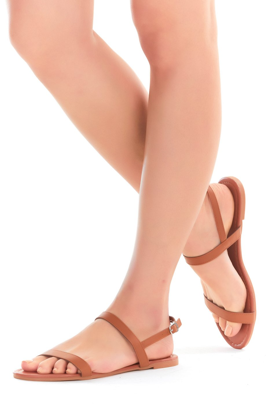 Womens Sandals, Double Strap, Open Toe Flat Summer Sandals for Women, Shoes for Ladies (8, Rose Gold)