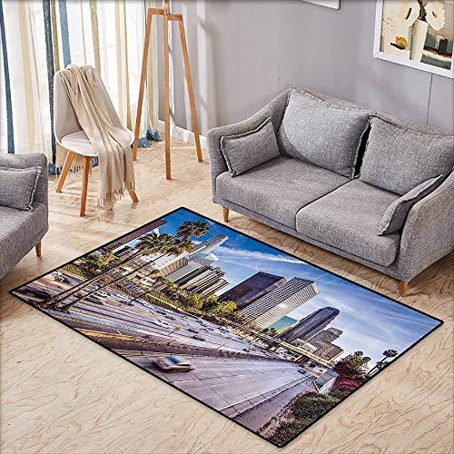 Custom Rug,Travel Decor,Downtown Cityscape of Los Angeles California USA Avenue Buildings Palms,Anti-Slip Doormat Footpad Machine Washable,4'7