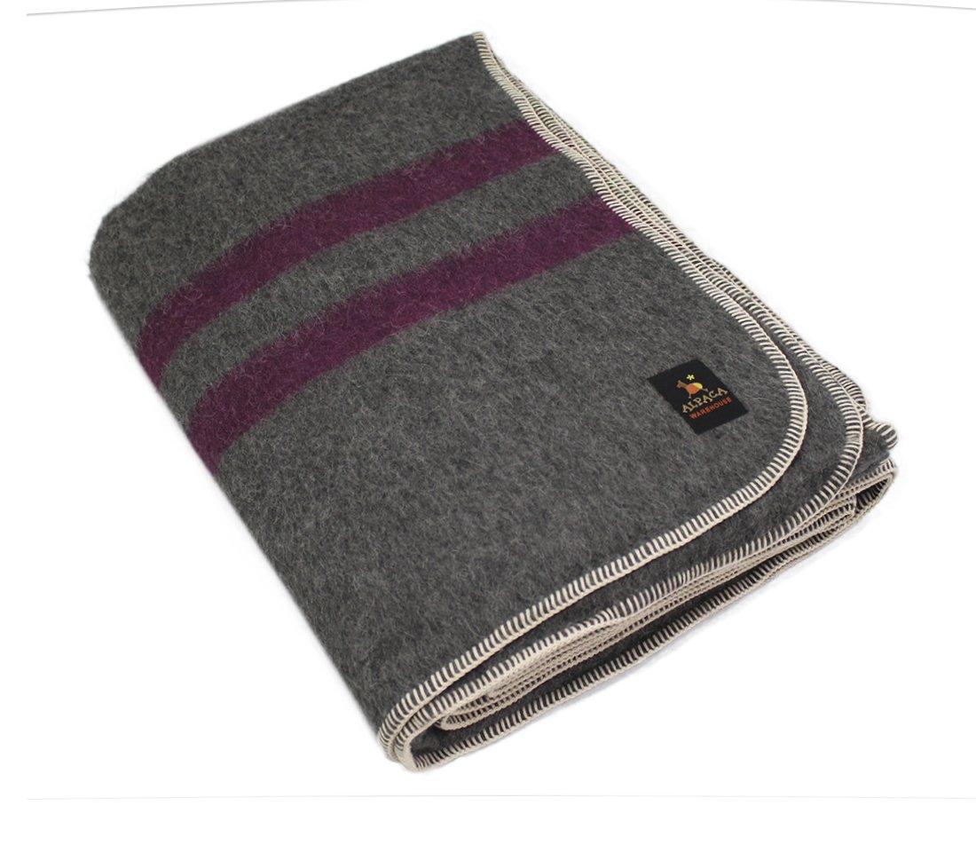 厚手アルパカ織り毛布 クイーン グレー B01MEEWFAV Gray - Plum Stripes クイーン