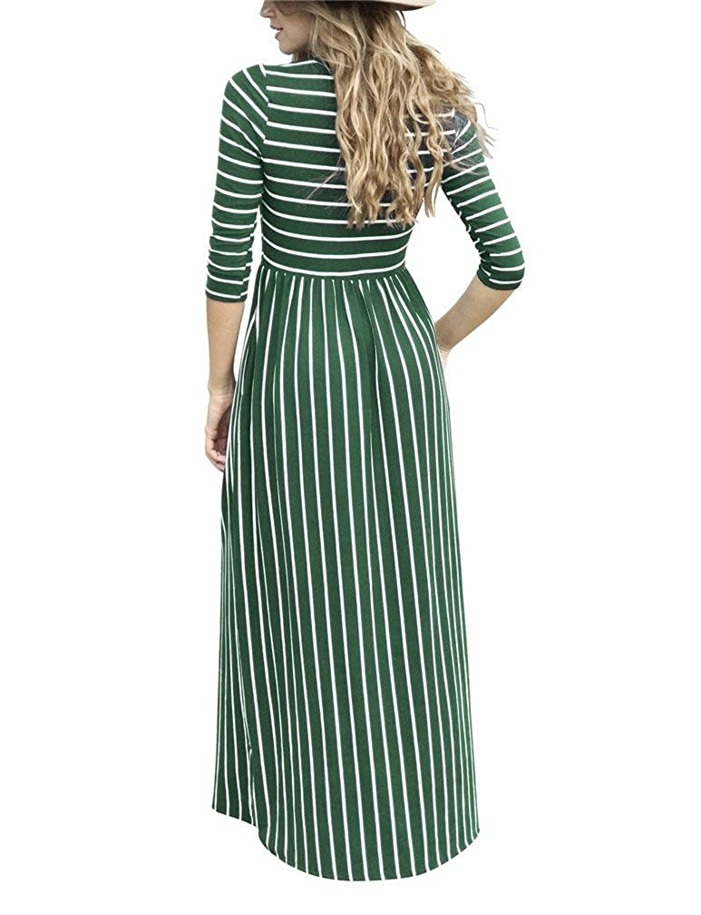 4666f6cf7be Amazon.com  LeaLac Women s 3 4 Sleeve Striped Casual Loose Maxi Dresses  Elastic Waist Tunic Long T-Shirt Dress with Pocket  Clothing