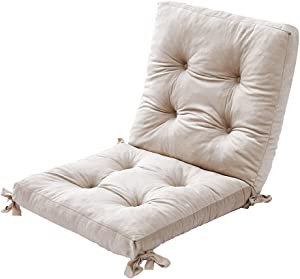 AIFY Square Chair Cushion, Super Plush Non-Slip Seating Cushion with Belt for Room Patio Garden Office Sofa Chair, Tufted Thick Solid Color Cushion for Indoor Outdoor Rocking Chair, 36 X 18 Inches, Beige