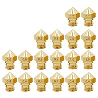 uxcell 2pcs 3D Printer Nozzle,Brass MK8 Nozzle 0.2mm,Extruder Print Head for 1.75mm Makerbot Creality CR-10 ANET A8 CR-10 M6 3D Printer