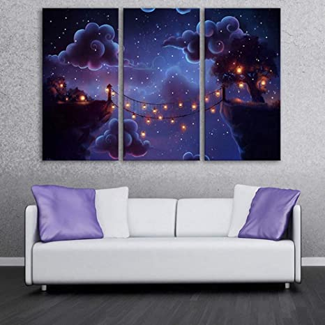 Photo Wall Led Canvas Wall Art Picture Scenery On The Cliff Light Up Painting Blooming Art