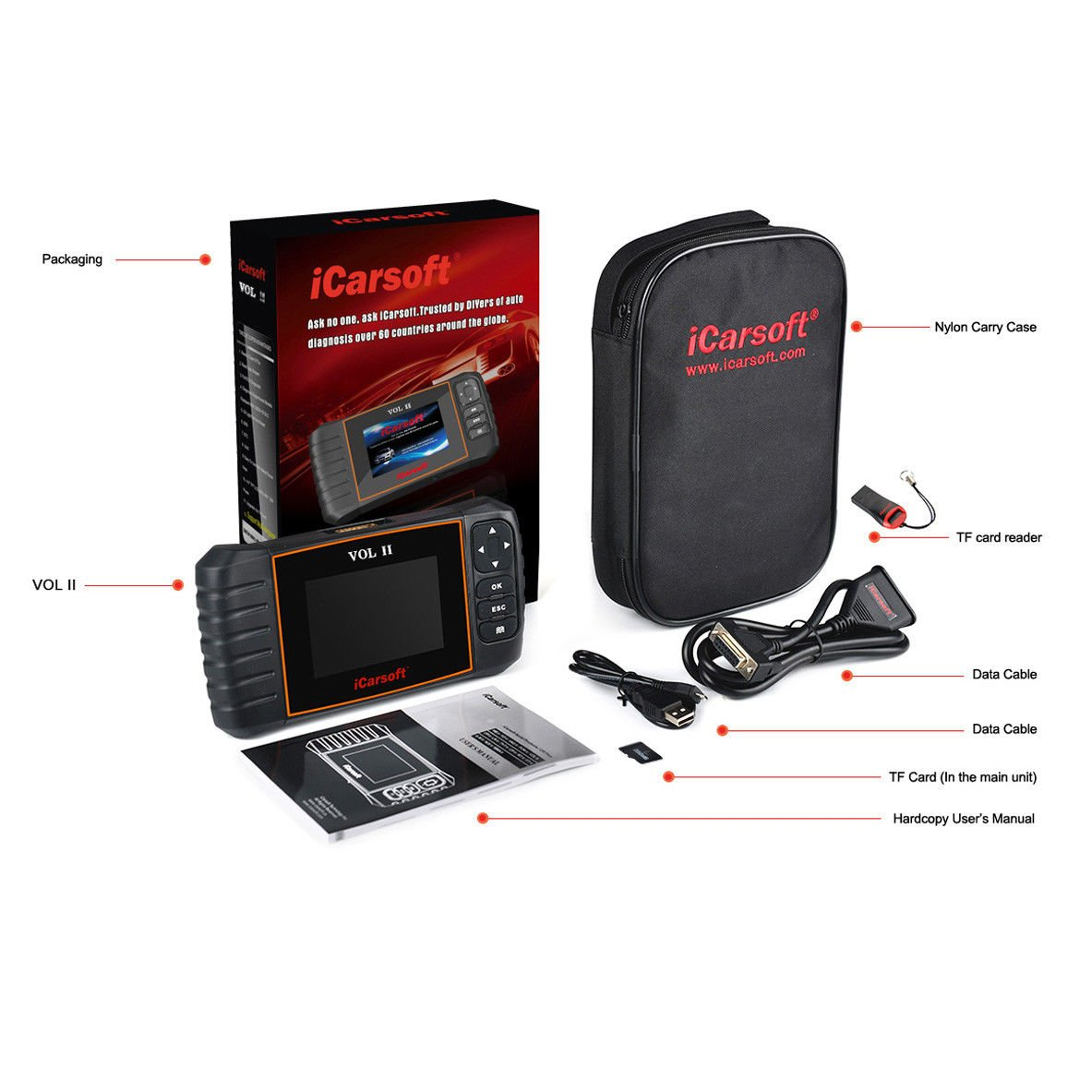 iCarsoft VOL II OBDII diagnostic tool for Volvo Saab multi systems, SRS ABS Engine oil reset, EPB by iCarsoft (Image #8)
