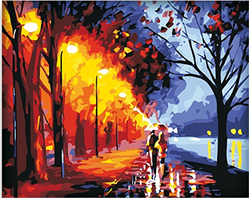 Frameless DIY Paint By Numbers Kits For Adult Kids Romantic Lovers Street Lamp On Canvas Painting By Number For Home Wall Decor,16x20