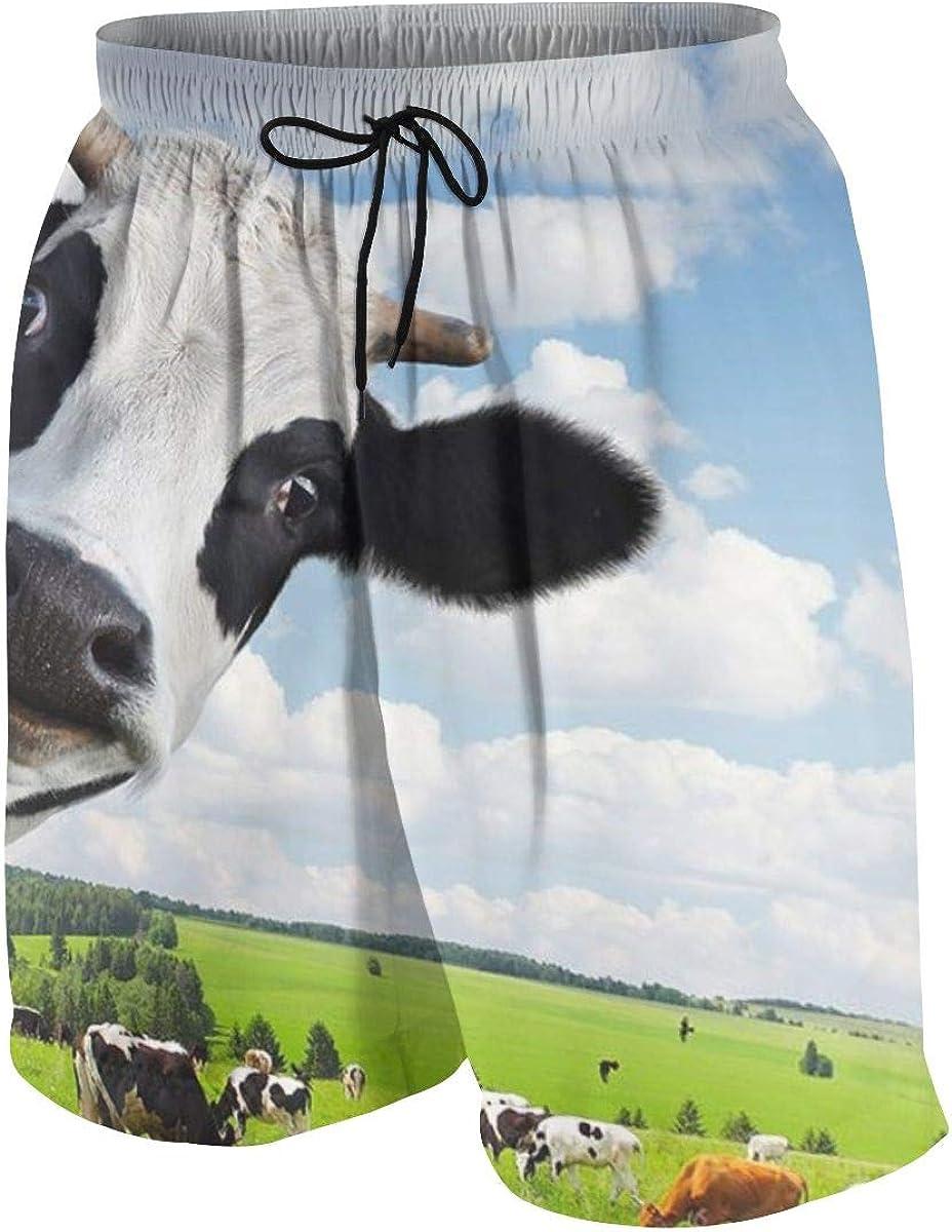 Teenager Summer Swim Trunks Training Trunks Milk Cow in Dairy Farm for Swimming Travel Mesh Liner Drawstring