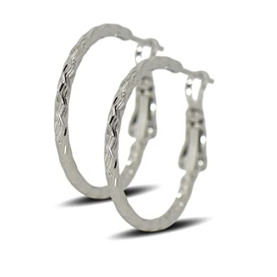 f5d900a870f2 Blue Diamond Club - 9ct White Gold Filled Womens Textured Hoop Earrings  25mm  Amazon.co.uk  Jewellery