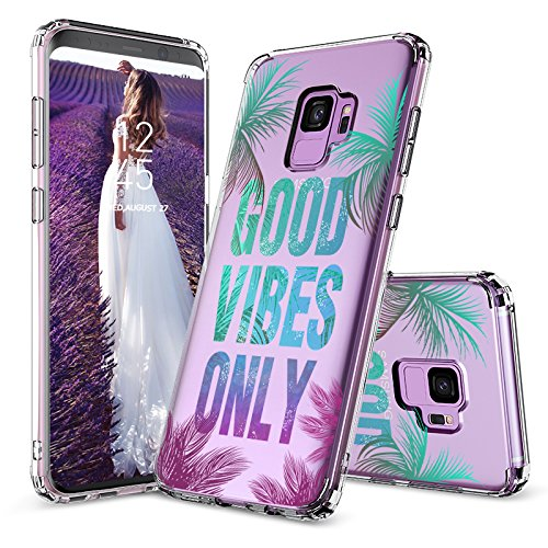 Galaxy S9 Case, Galaxy S9 for Women, MOSNOVO Good Vibes Only Tropica Leaves Quotes Clear Design Transparent Plastic Hard Back Cover with TPU Bumper Protective Case Cover for Samsung Galaxy S9 (2018)