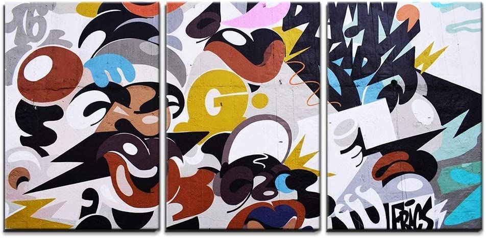 wall26 - 3 Piece Canvas Wall Art - Abstract Modern Graffiti Art - Modern Home Decor Stretched and Framed Ready to Hang - 16