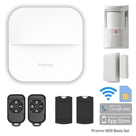 PROTRON W20 Smart Home GSM Wifi Alarma con fuente de alimentación, PIR Sensor Detector de