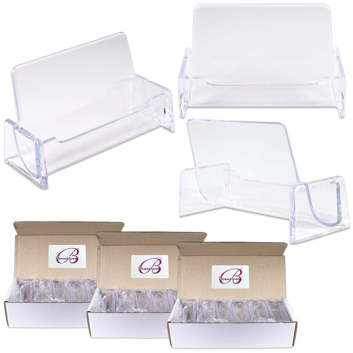 Beauticom Clear Plastic Business Card Holder Display Desktop Countertop (Style # 3) (36 Pieces)