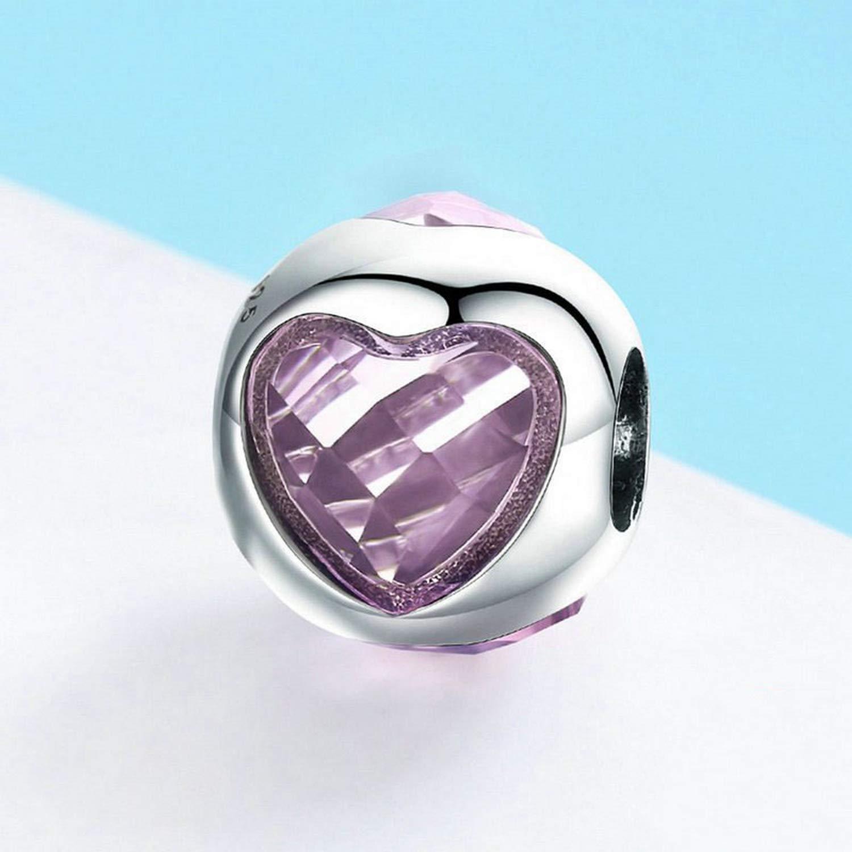 EverReena Lovely Pink Zircon Heart Shape Charm Silver Beads Bracelets