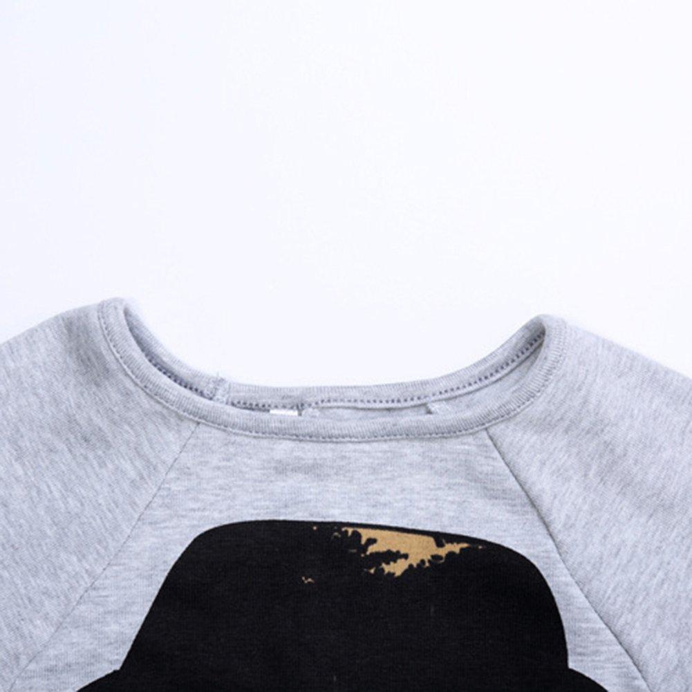 EFZQ Kids Little Girls Cartoon Printed Batwing-sleeved T-Shirt Top /& Pants