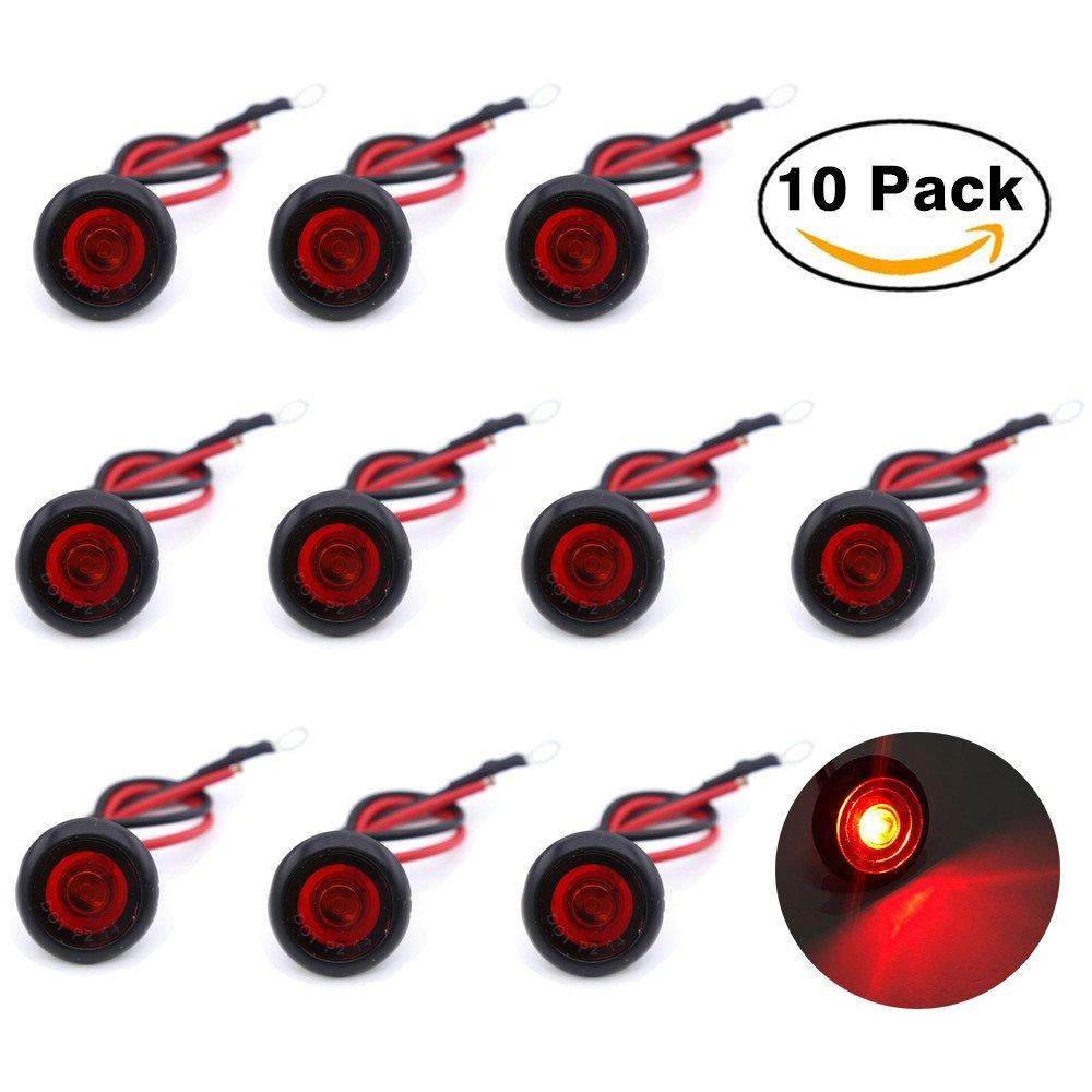Haichen Lot de 10Rond LED avant arrière côté marqueur indicateurs lumière 12V Voiture/camion Bullet libre de Convoi