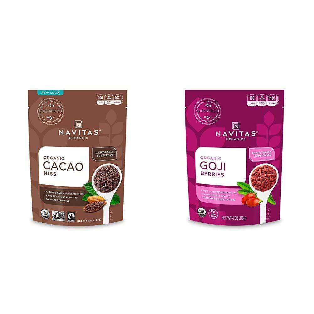 Navitas Organics Cacao Nibs, 8 oz. Bag — Organic, Non-GMO, Fair Trade, Gluten-Free & Power Dried Berries - Goji - 4 oz