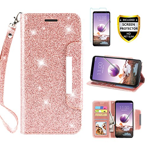 LG Stylo 4 Case, Phone Wallet for LG Stylo 4 Plus/Stylo 4+/Q Stylus 4 with Protector Screen Leather Bling Glitter Flip Wallet Case Wrist Strap with Kickstand Credit Card Holder for Girls/Women, Pink ()