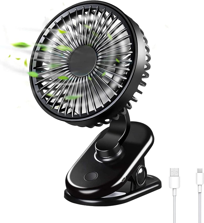 Mini Ventilador Portatil - Ventilador Pequeño Recargable con Batería de 5000 mAH, Tipo C 3 Velocidades Ventilador Silencioso USB para Cochecito de Bebé, Camping, Office y Hogar