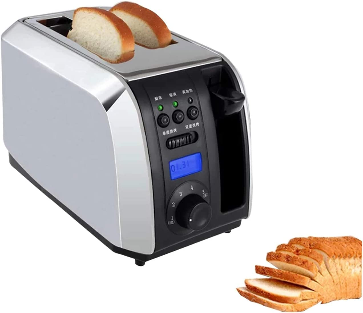 Digital Toaster Oven, Stainless Steel Breakfast Bread Baking Machine, 2 Slices Slots Automatic Toast Oven, 1000W