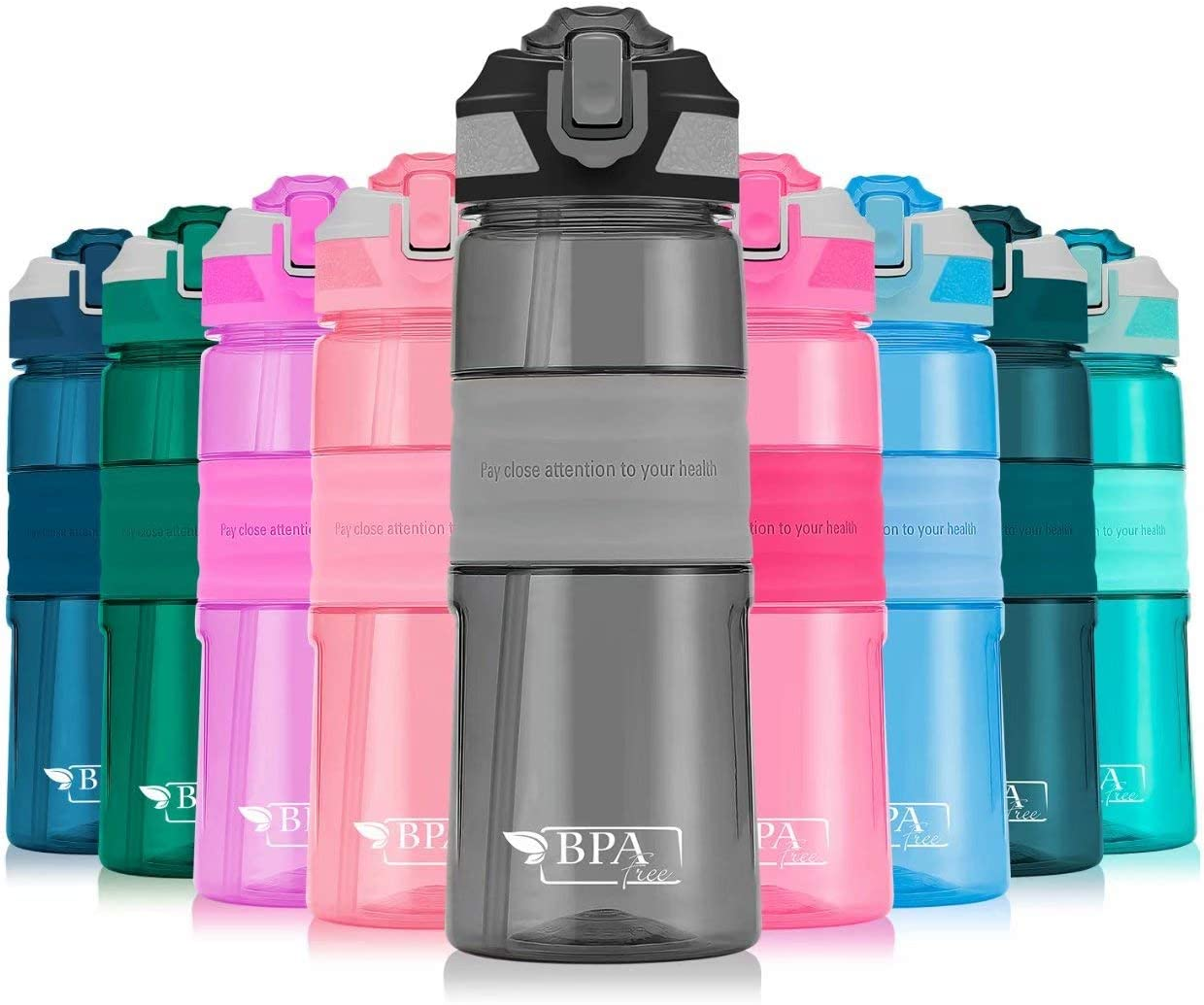 Sports Water Bottle with Straw Non-Toxic BPA Free /& Eco-Friendly Button Start