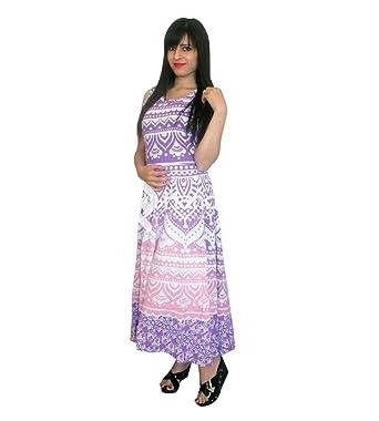handgemachte Exporte rosa lila Ombre Mandala ärmelloses Abendkleid ...