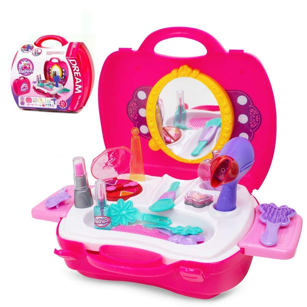 Pretend Play Makeup Kids Vanity Case Fashion Beauty Salon Set with Hair Dryer Mirror Scissors Hair Brush for Little Girls Toddler 21 Pcs by Candice's Sweet