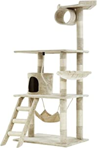 BestPet Medium Cat Tree Cat Tower Cat Condo Cat Activity Tree Playground Cage Kitten Multi-Level 64 inches Play House Scratching Post Furniture with Hammock